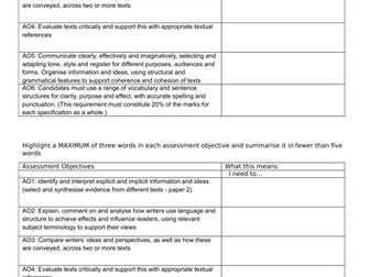 9-1 English GCSE exam practice schemelet