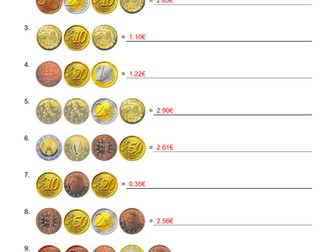 Euro Coins European Worksheets 500 Questions with answers Counting KS1 KS2