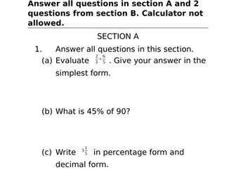 Key Stage 3 Mathematics Assessment