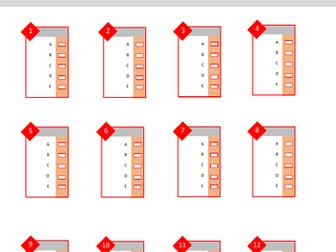Multiple Choice Answer Sheet - 12 Answers