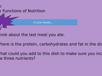 KS3 Nutrition - Food preparation and Nutrition WJEC