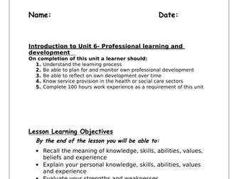 Unit 6 Personal and professional development in health and social care