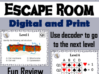 Plant and Animal Cell Organelles: Digital Breakout Science Escape Room Activity