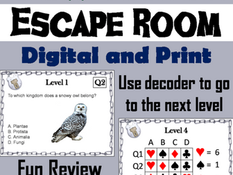 Classification and Taxonomy: Science Escape Room