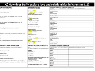 Valentine by Carol Ann Duffy for Eduqas 1-9