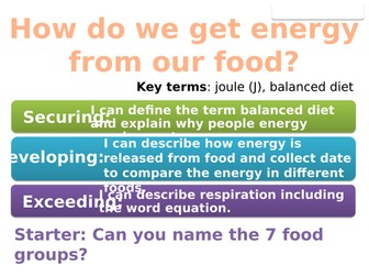7Ia Energy from food (Exploring Science) - 2 lessons