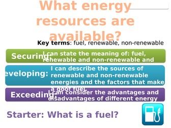 7Ic Fuels and renewable energy (Exploring Science)