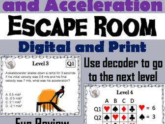 Speed, Velocity and Acceleration Escape Room