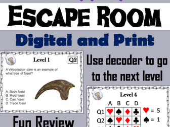 Types of Fossils Science Escape Room