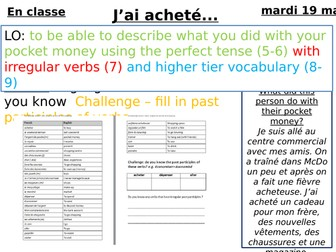 Past Tense Pocket Money - French. Differentiated, observation standard lesson.