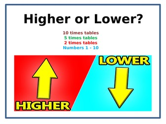 Probability Maths Game: Higher or Lower? Times Tables Challenge