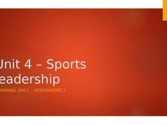 BTEC Sport L3 presentation - Unit 4 Learning Aim C