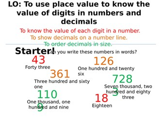 Number skills! (Place value, order decimals, +-x/ with positive and negative numbers!)