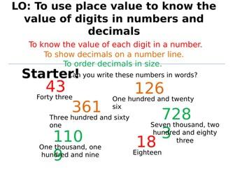 Number skills! (Place value, order decimals, negative numbers!)