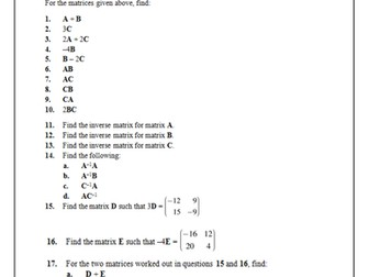 Matrices and Transformations - Worksheet with Answers