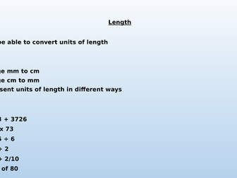 Converting Length Lesson - cm and mm