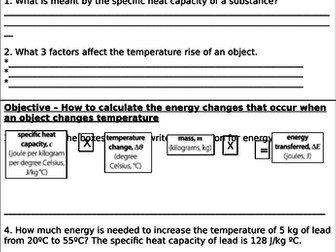 Specific Heat Capacity Homework