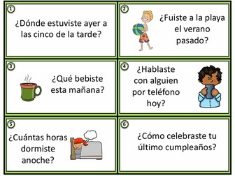 Preterite Spanish Task Cards - Pretérito - 24 Conversation Starters