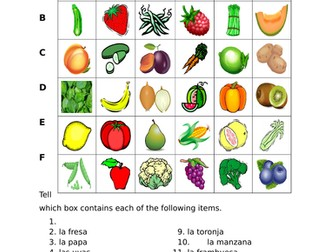 Frutas y Verduras (Fruits and Vegetables in Spanish) Find it Worksheet