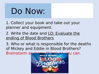 Blood Brothers Lesson on the Ending: Who is Responsible? (AQA)