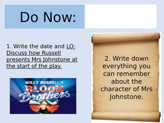 Blood Brothers Lesson on Mrs Johnstone/ Marilyn Monroe (AQA)