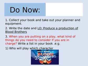 Blood Brothers Lesson on Staging the Play (AQA)