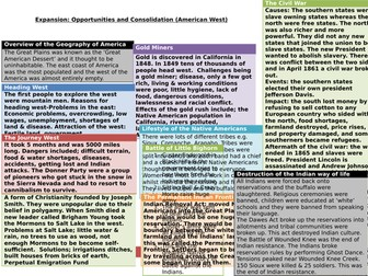 AQA GCSE History America, 1840-1895: Expansion and Consoldiation Knowledge Organiser