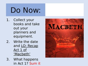 Macbeth: Act 1 Revision Lesson and Worksheet