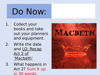 Macbeth: Act 2 Revision Lesson and Worksheet