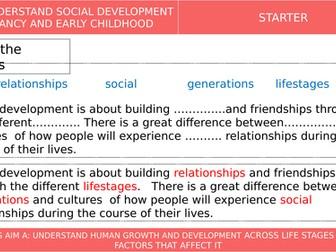 BTEC Tech Award in Health and Social Care L1&2 - Social Development