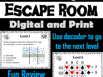 Passive and Active Cell Transport Escape Room