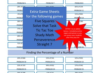 Extra Problems for Our Math Games - Finding the Percentage of a Number