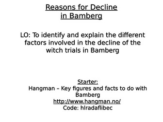 Edexcel: 33: Witch hunts: Depth 3: Bamberg: Reasons for decline