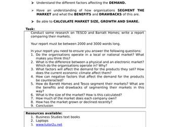 Niche, Mass and Dynamic Markets Lesson PPT, Activies x2: A Level Business; GCSE Business