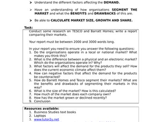 Niche, Mass and Dynamic Markets Lesson PPT, Activies x2: A Level Business; GCSE Business