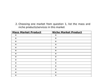 Markets and Market Research Revision Activities: A Level Business; GCSE Business