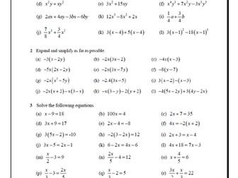 IGCSE - Core Math - Worksheet - Algebra - Equations and transforming formulae with key answers