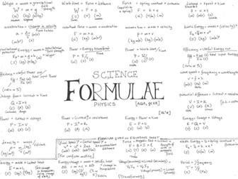 AQA GCSE - Physics - Formulae - Revision Poster - Placemat
