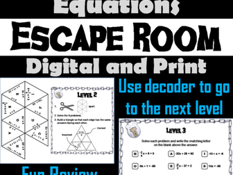 One and Two Step Equations: Math Escape Room
