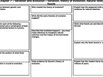 New AQA 2016 Trilogy Biology revision mat for variation and evolution