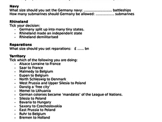 AQA (9-1) GCSE History - Conflict and Tension 1918-39  - Lesson 1 & 2 Treaty of Versailles