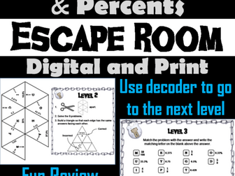 Fractions Decimals Percents: Math Escape Room