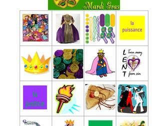 Mardi Gras in French Bingo game