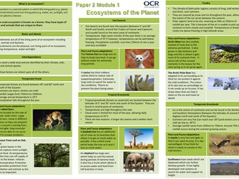 OCR A 9-1 Geography: Ecosystems of the Planet Revision Sheets/Knowledge Organiser