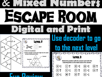 Improper Fractions and Mixed Numbers: Escape Room Math