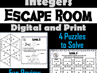 Adding and Subtracting Integers: Math Escape Room