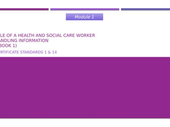 Care Certificate Standards 1 and 14 - Communication and Handling Information