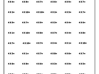 Times Tables Test Sheets (60 mixed questions per test)
