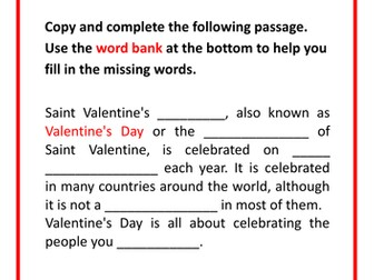 Valentine's Day Worksheet and Card-Making Resources