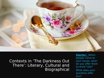 The Darkness Out There Tea Drinking Sequence Cultural, Literary, Biographical Contexts Study
